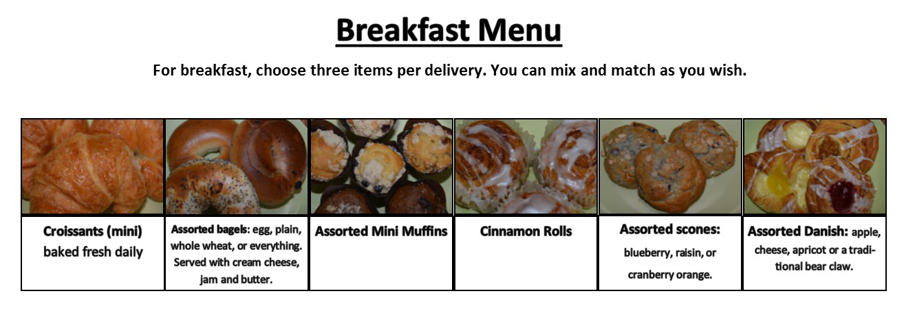 Martha's Senior Gourmet Breakfast Menu