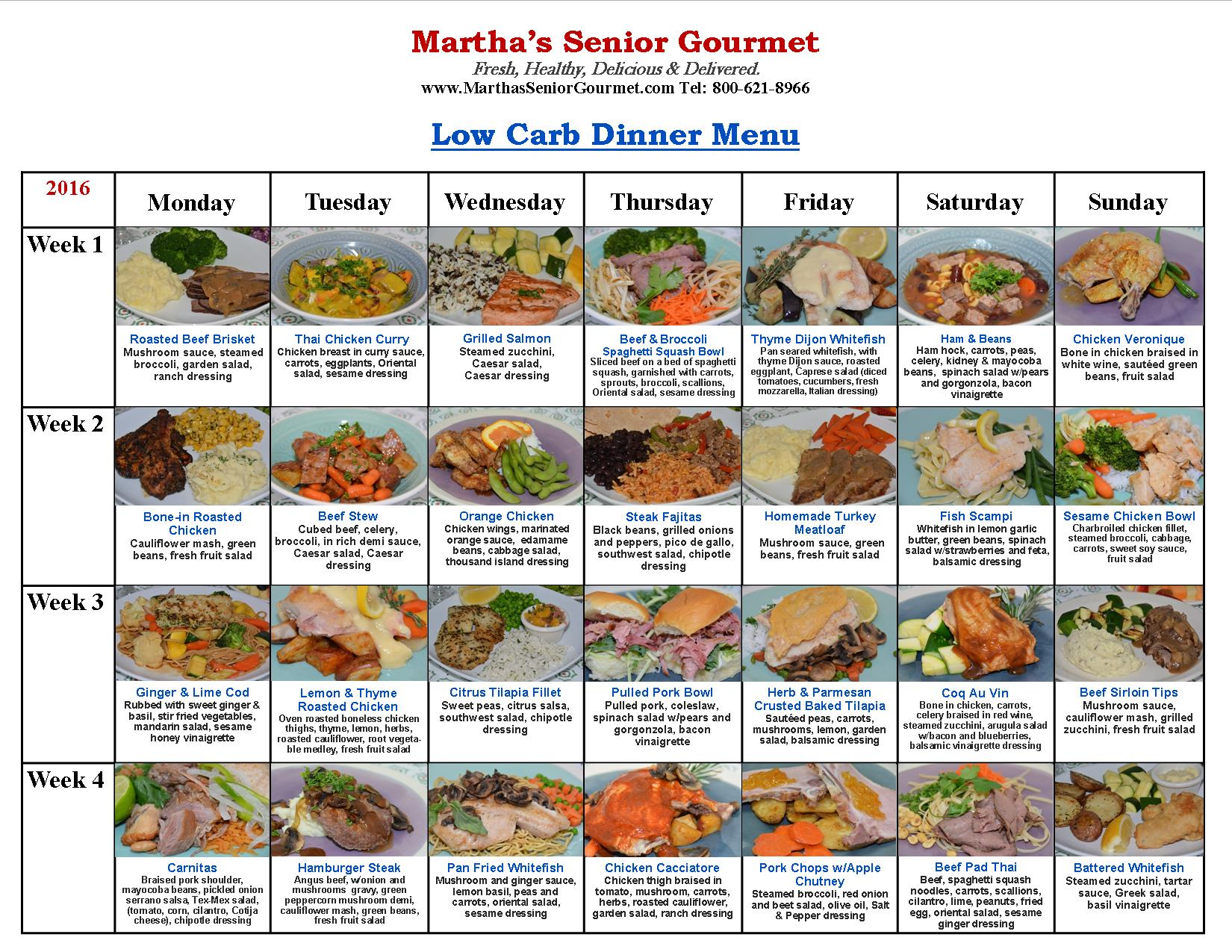 Martha's Senior Gourmet Low Carb Dinner Menu