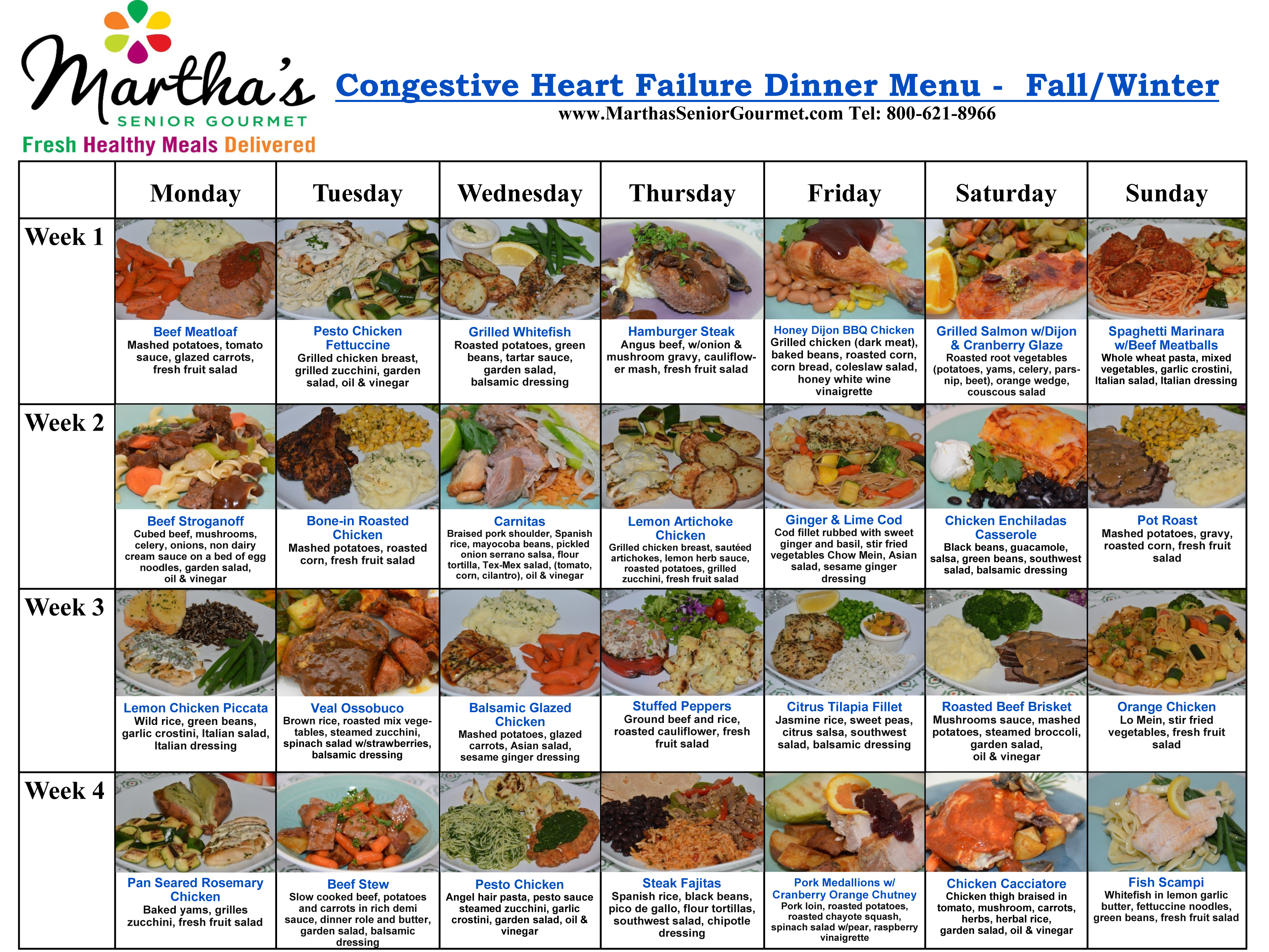 Martha's Senior Gourmet Congestive Heart Failure Dinner Menu - Fall/Winter
