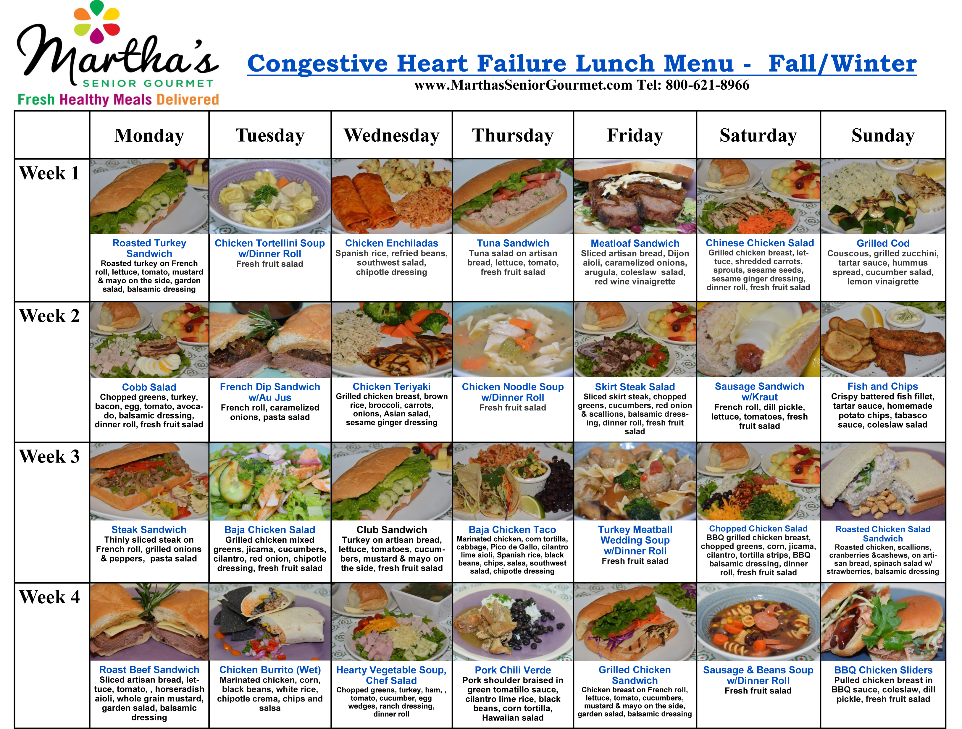 Martha's Senior Gourmet Congestive Heart Failure Lunch Menu - Fall/Winter