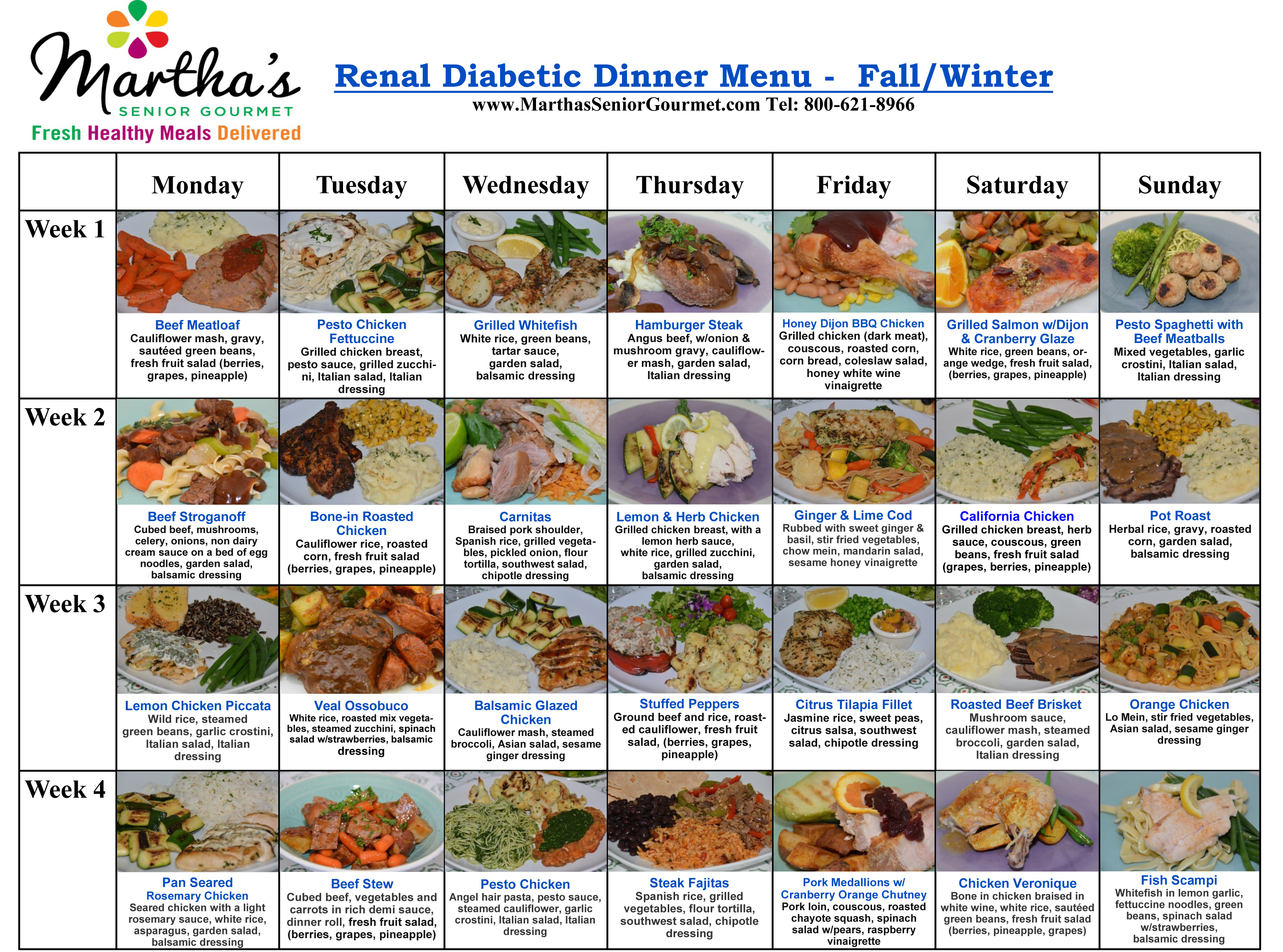 Martha's Senior Gourmet Renal Diabetic Dinner Menu - Fall/Winter