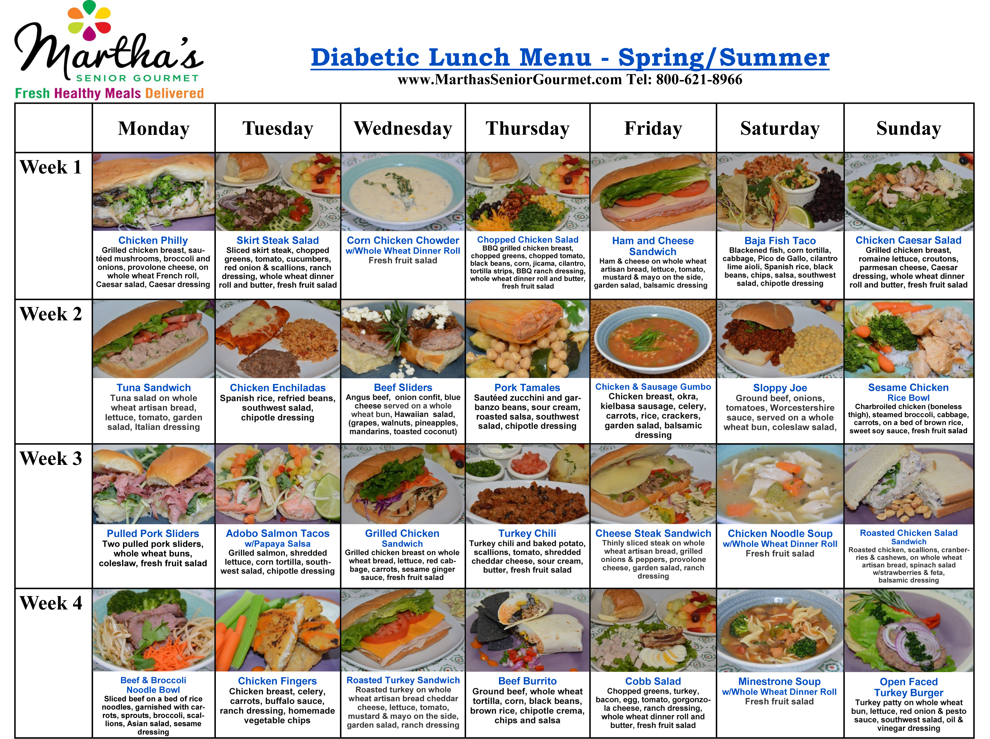 Martha's Diabetic Lunch Menu - Spring and Summer