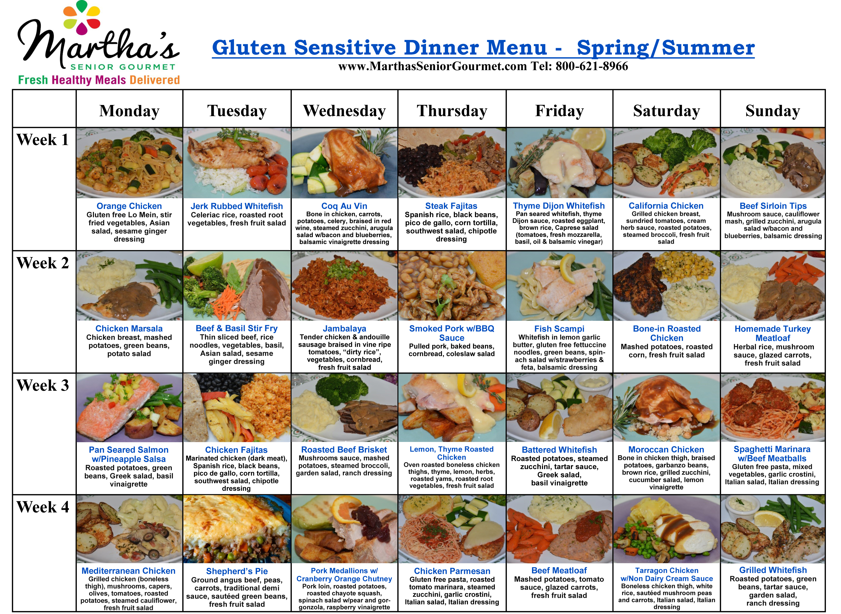 Martha's Senior Gourmet Gluten Sensitive Dinner Menu - Spring/Summer