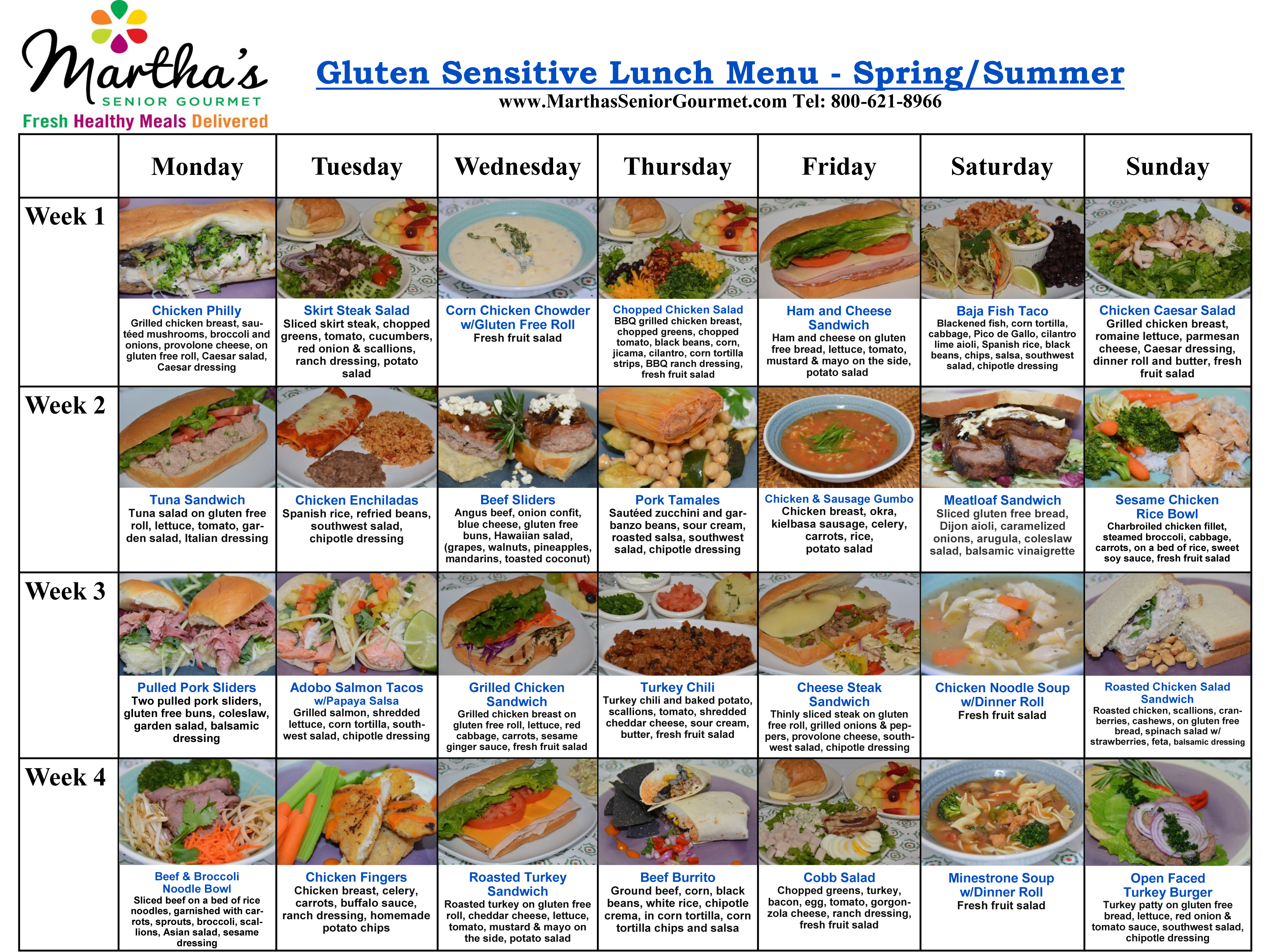 Martha's Senior Gourmet Gluten Sensitive Lunch Menu - Spring/Summer