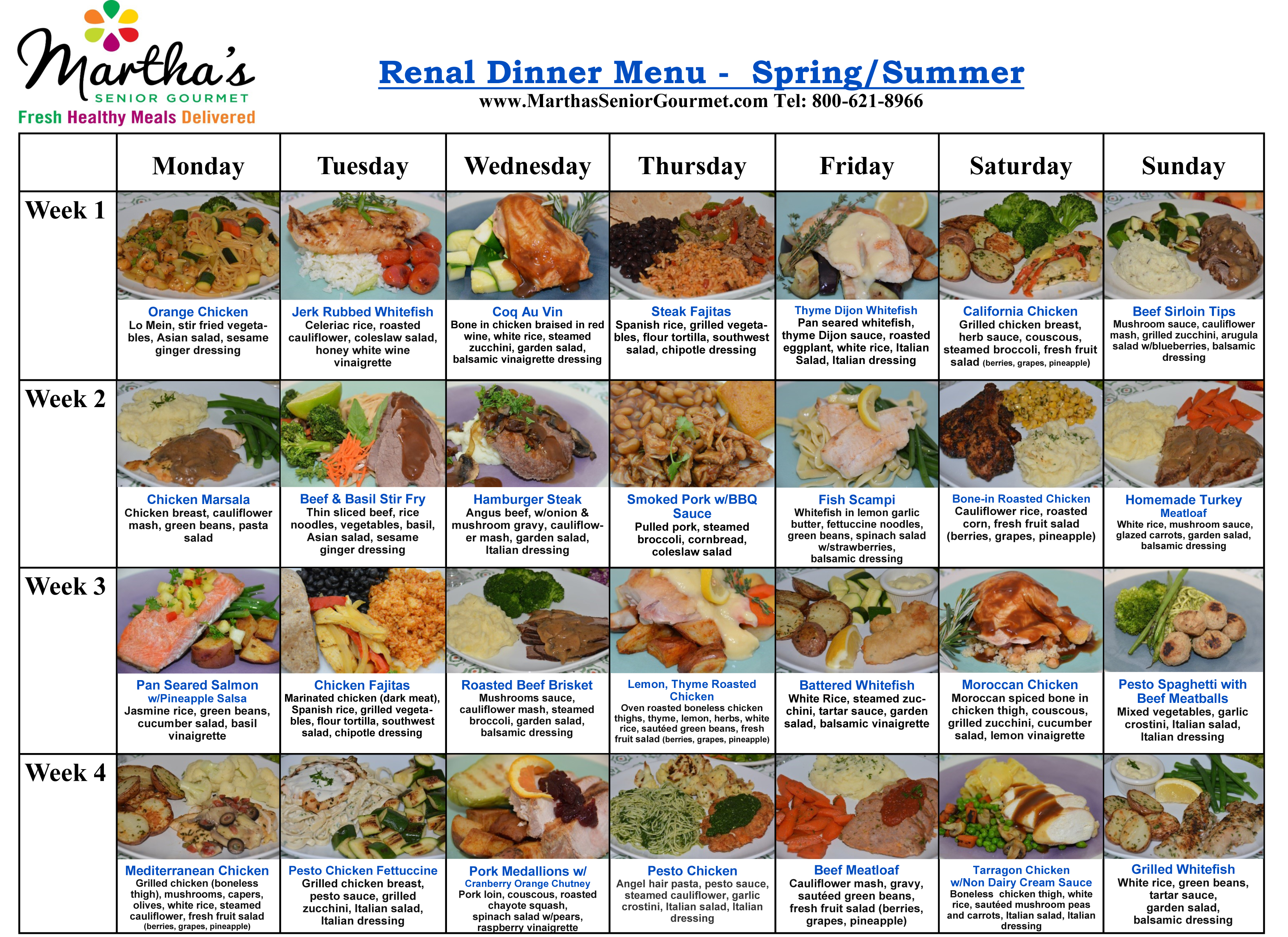 Martha's Renal Dinner Menu - Spring and Summer