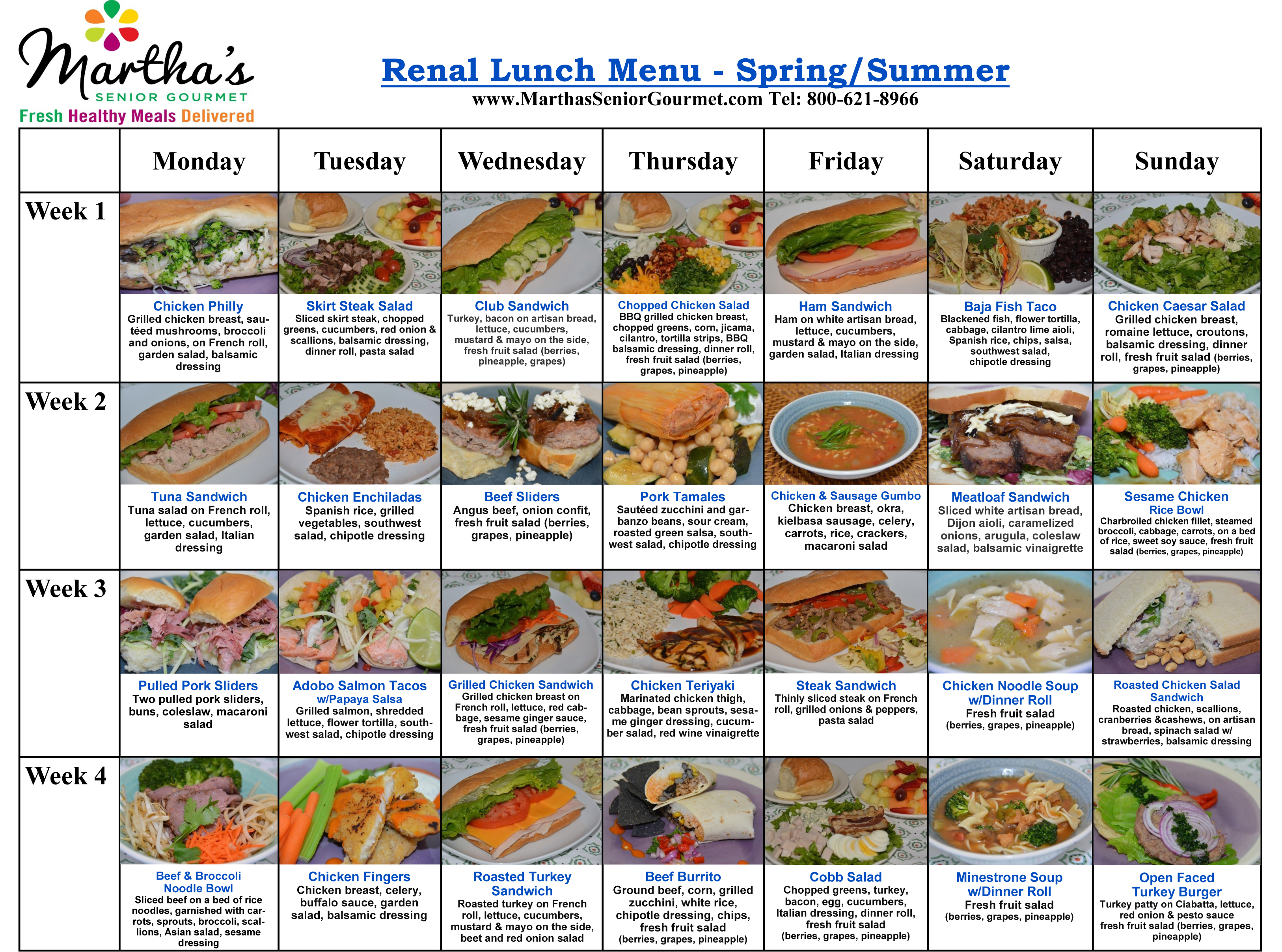 Martha's Renal Lunch Menu - Spring and Summer
