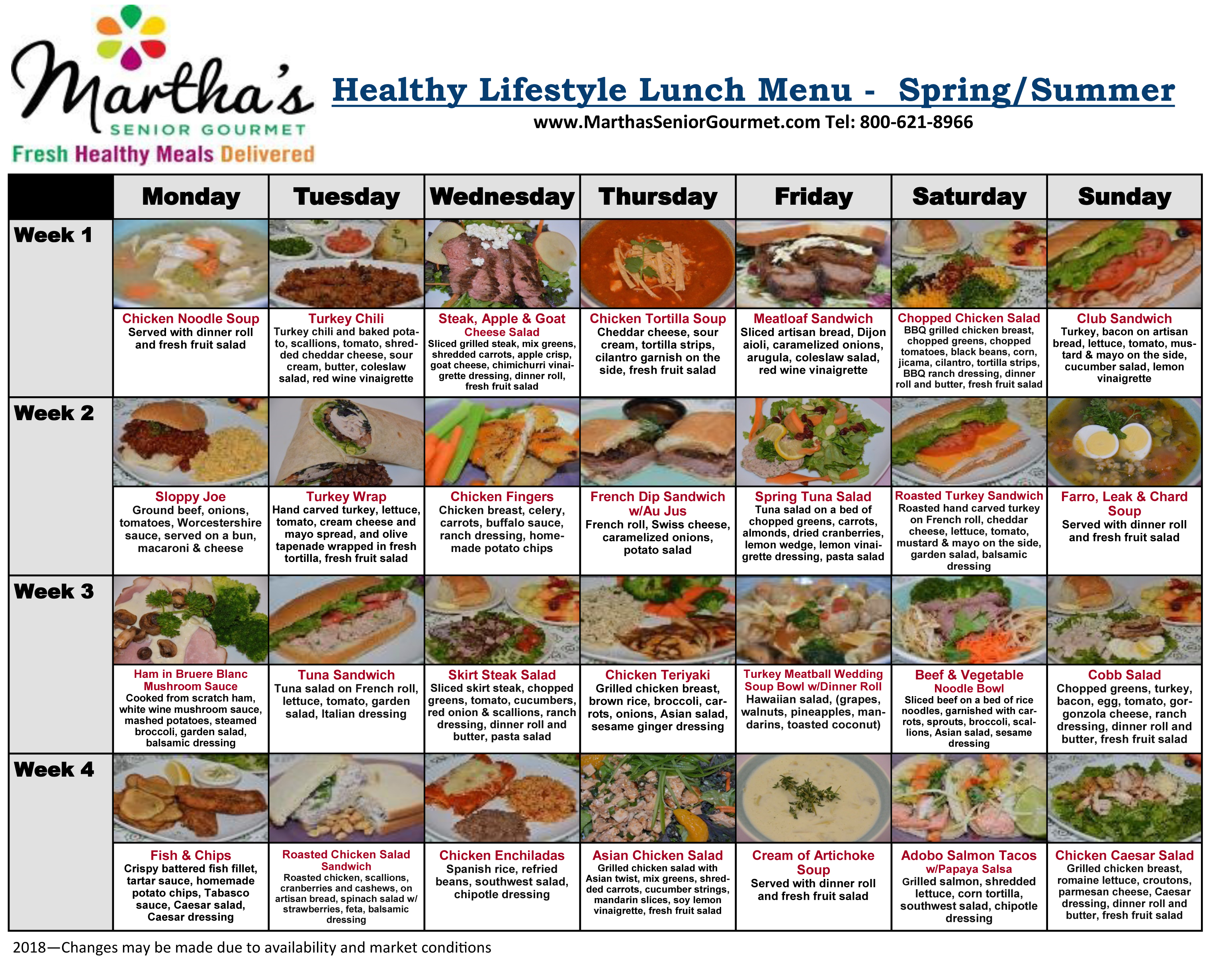 Healthy Lifestyle Lunch Menu - Spring/Summer