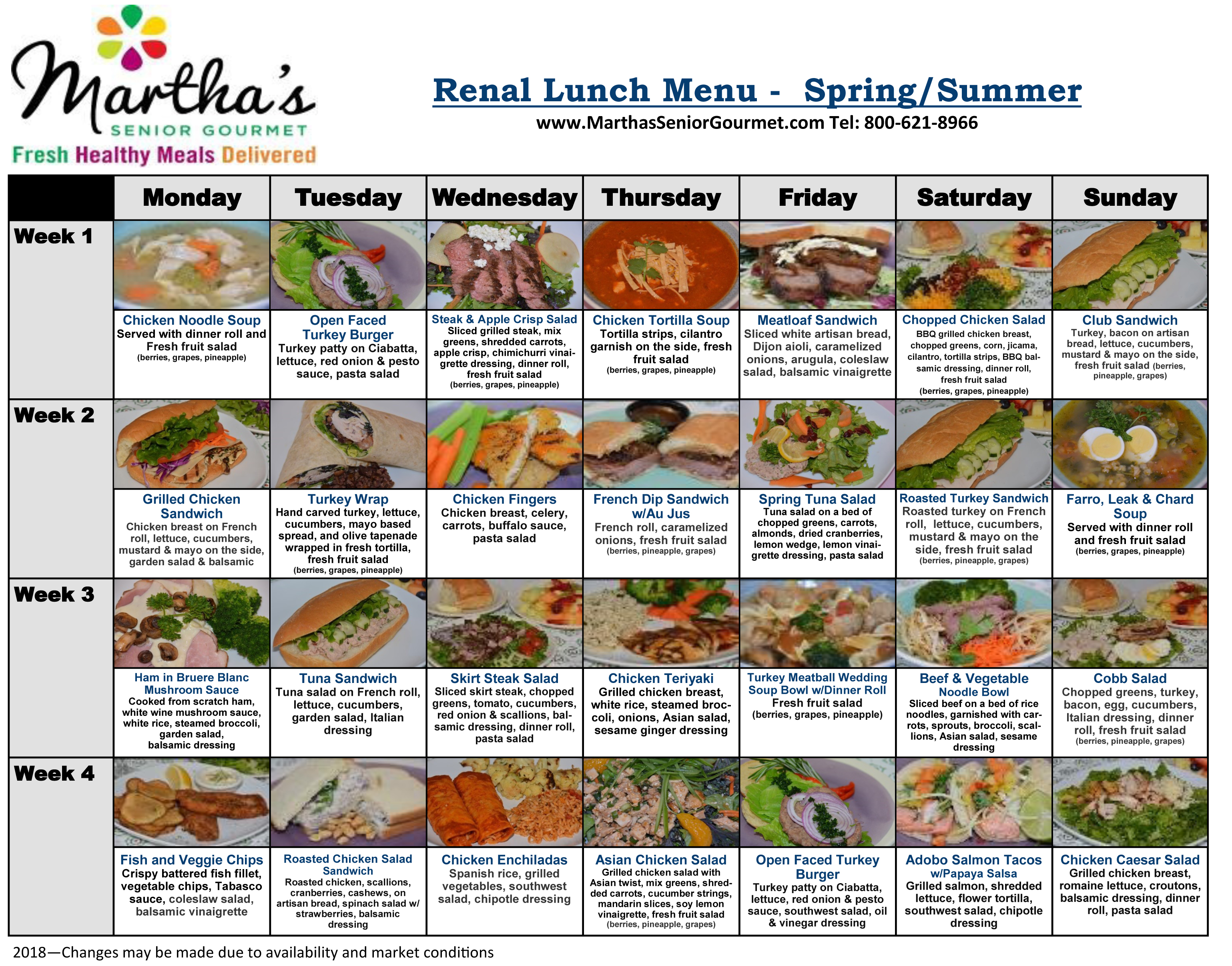 Renal Diabetic Lunch Menu - Spring/Summer