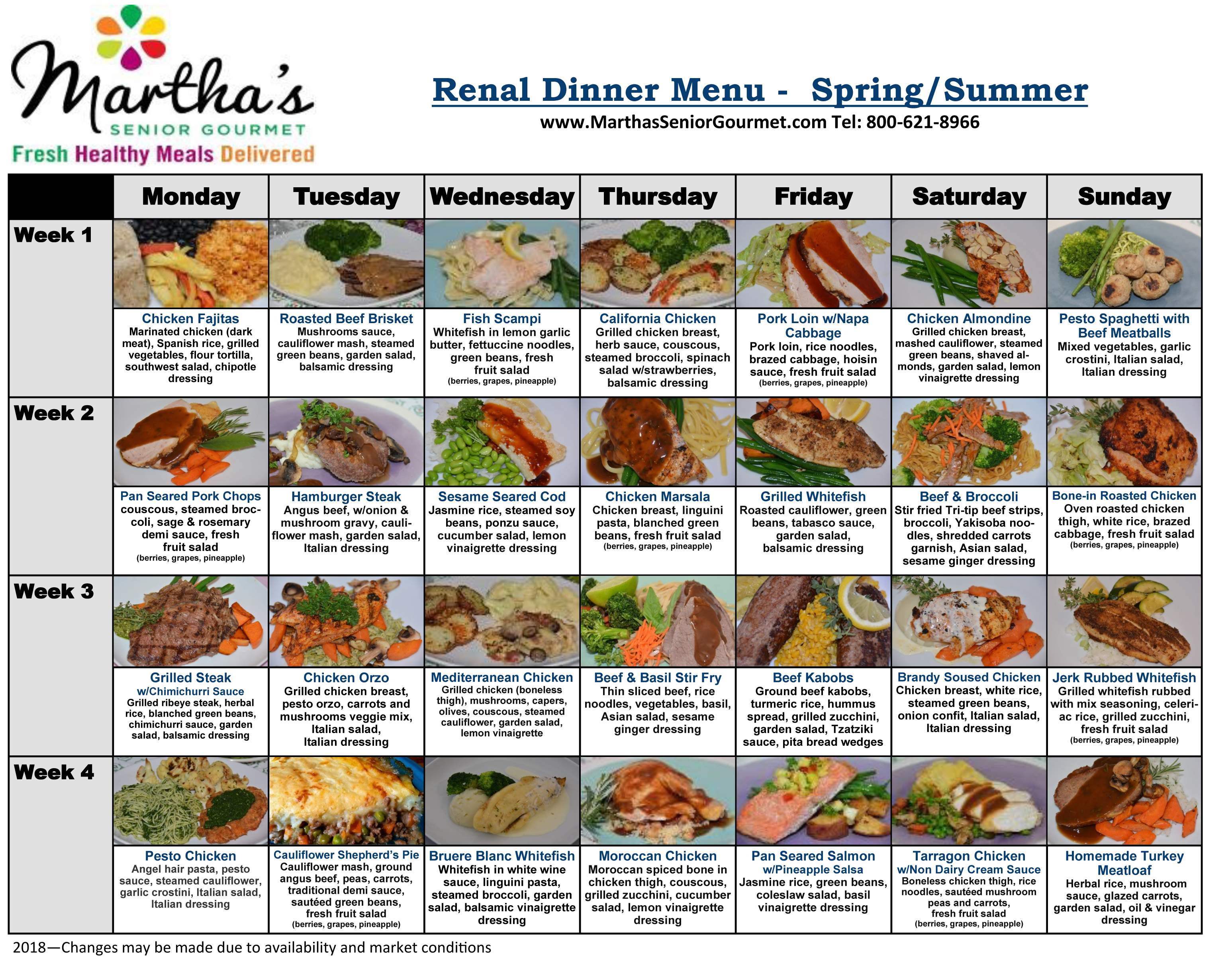 Renal Diabetic Dinner Menu - Spring/Summer